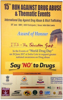 Award of Honour-15th Run against drug abuse and th