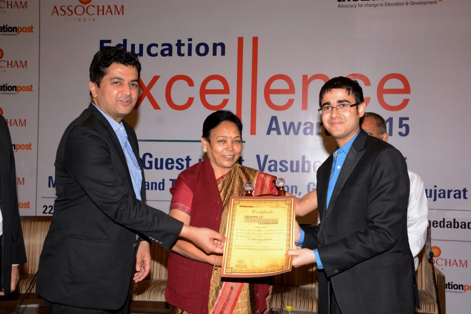 National Education Excellence Award 2015 by ASSOCHAM for Best placements and Corporate Resources