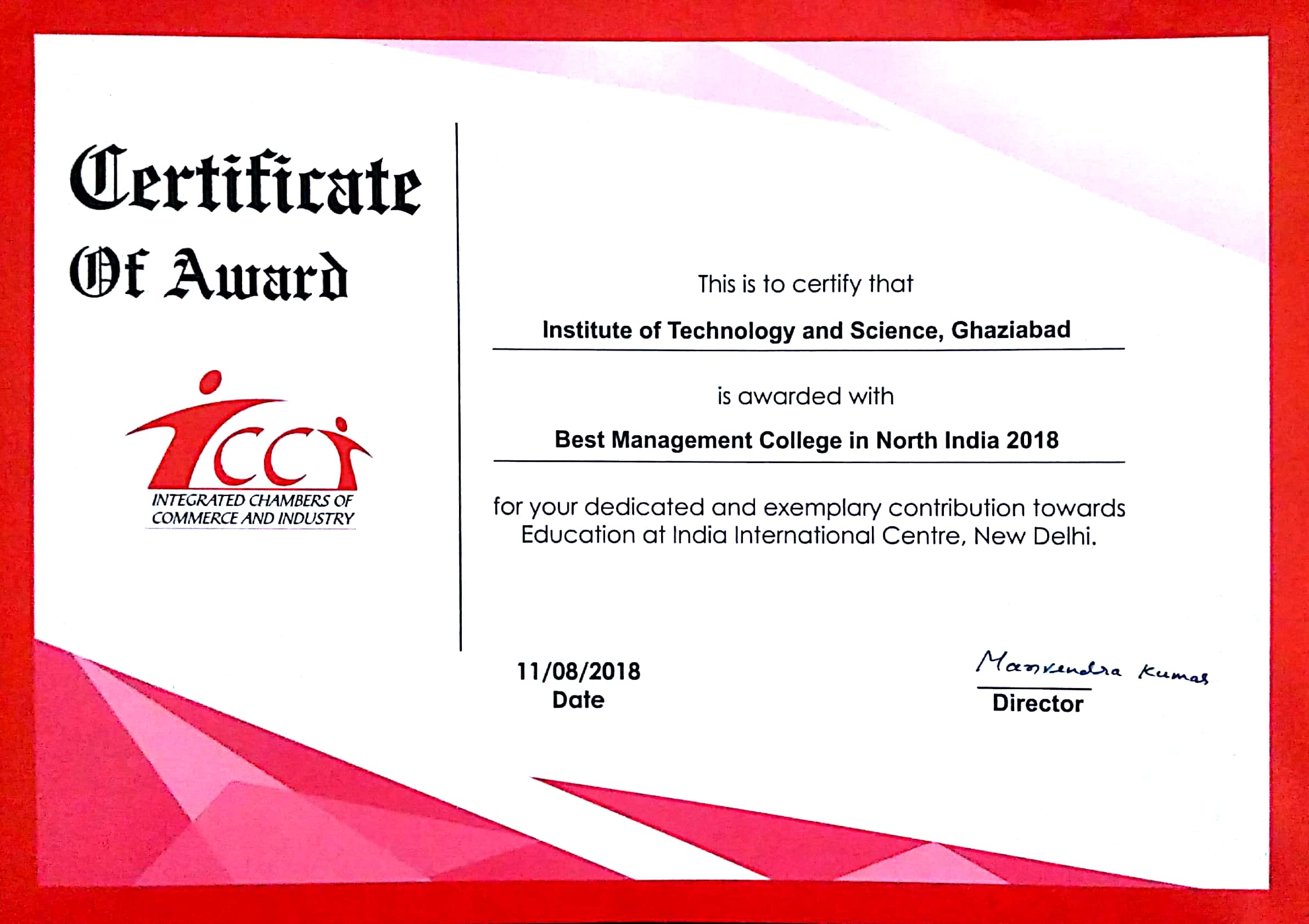 Best Management College in North India 2018 by ICCI