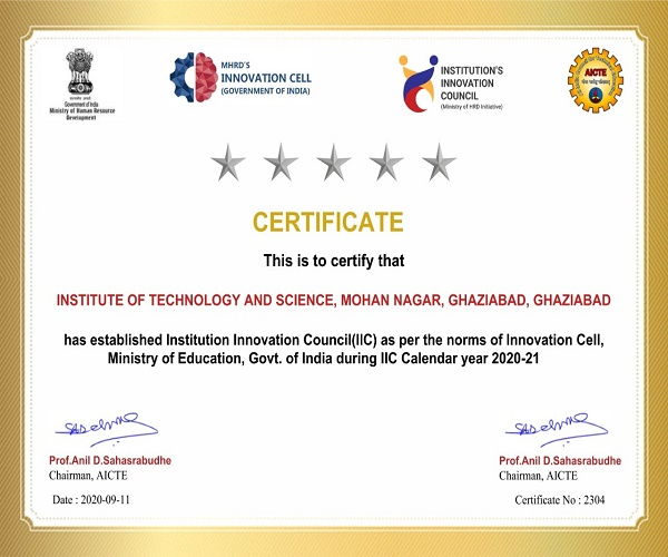 Institution  Innovation Council-IIC of ITS was gra